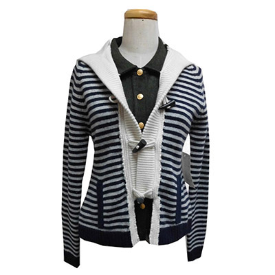 Ladies Woven Trims Cardigan with Hand-sewing