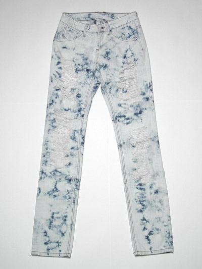 Ladies' acid deconstucted jean