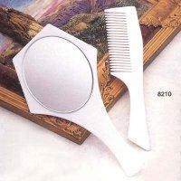 Plastic Oval Frame Hand Mirror with Comb