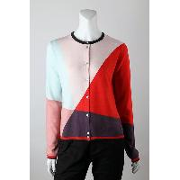 12gg Intarsia Color Block Cardigan