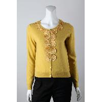12gg Jersey Knitted with Silk Ribbon Embroidery Front Cardigan