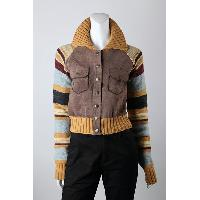 7gg Stripe Knit with Suede Front Cardigan