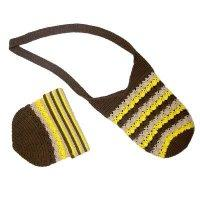 Hand crochet multi colors stripes bag & hat, CPL-90350/1