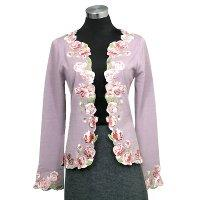 12gg jersey knit long sleeves cardigan w/embroidery on neck/front placket and cuff