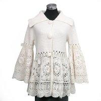 Allover hand crochet coat w/lace around waist