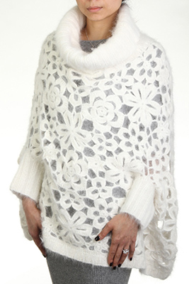 Allover hand knit +crochet poncho