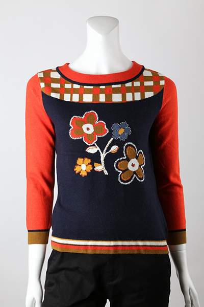 12gg Intarsia with Hand Embroidery Front Jumper