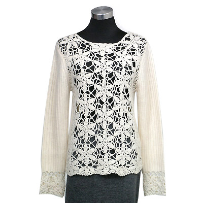 Hand crochet on front and cuff round neck long sleeves pullover