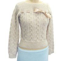 Sell 7GG round neck long sleeve pointelle Pullover