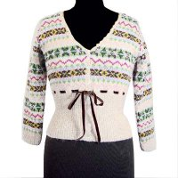 Sell Hand knit V-neck long sleeves jacquard cardigan