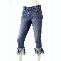 Lady's Crop Fray Hem Jean