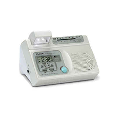 Multifunction LCD Talking Clock with Radio, moving night light, pen & memo holder, natural alarm sound selectable.