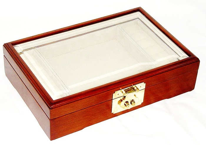 Jewellery Box with Clear Tempered Glass Top