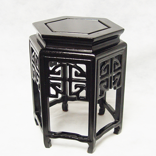 Hexagonal Flowerpot Stand Decorated With Openwork Carvings of Longevity Logos