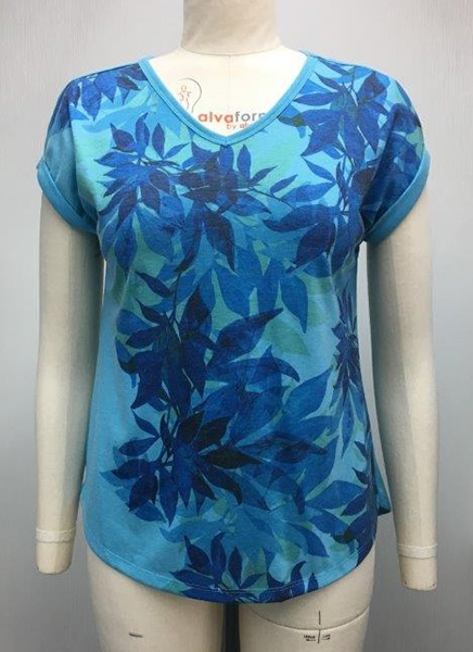 Ladies V Neck Top with Print