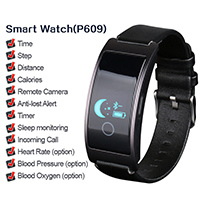 Charm Men's High Quality Health Sports Smart Black Leather Fitness Watch