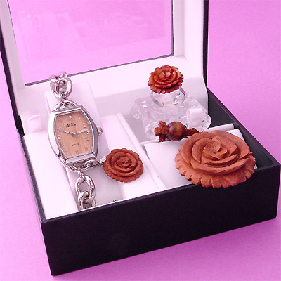 Sell Amazing Barrel Watch with Hand Carved Rose Drops, Pendent & Ring Box Set