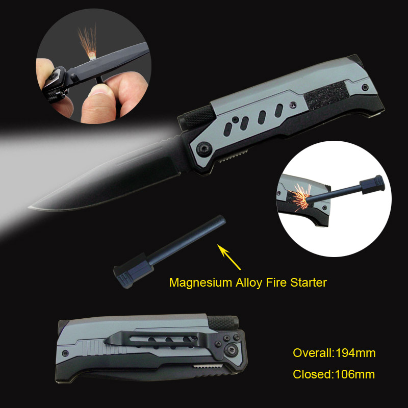 Deluxe Pocket Knife With Led Flashlight