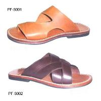 Leather Upper Rubber Sole Casual Comfortable Mens' Cross Strap Sandal
