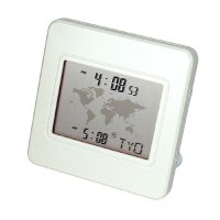 Desktop world time alarm clock with map and dual time