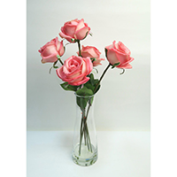 Real Touch Rose on Glass Vase