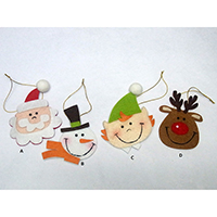 Christmas Hanging Decoration. Santa Claus, Snowman, Elf & Deer Design. Set of 4 pcs., 13607 A-D