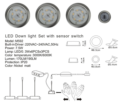 LED Down Light Set with Sensor Switch