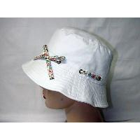 Canvas Beanie Hat with Floral Tied Bow, Cotton Sheeting Lining