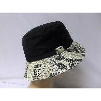 Canvas Beanie Hat with Snake Print Brim, Cotton Sheeting Lining