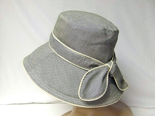 Stripe Floppy Hat with Bow at Back, Cotton Sheeting Lining