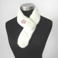 Sheared Mink Collar with Brooch (lining and fur clip)
