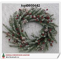 18 inches (45cm) Frosted Alpine Wreath W/berry & Cones
