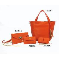 Orange Red Fashion Ladies 4 Pcs Wristlet / Shoulder Bag Wristlet Bags Tote Bag Set