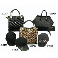 Black Fashion Ladies 6 Pcs Three Tote Bags Three Peaked Hats Set