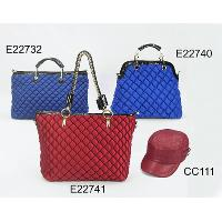 Ling Plaid Fashion Ladies' 4 Pcs Two Hand Bags Shoulder Bag Cap Set