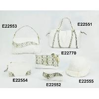 White Fashion Ladies 6 Pcs Five Snakeskin Pattern Hand Bags Top Hat Set