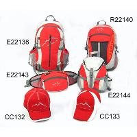 Grey/White/Red Sports Bag Three Backpacks Waist Pack Two Peaked Hats