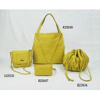Yellow No Pattern Fashion Ladies 4 Pcs Tote Bag Two Shoulder Bags Hand Bag Set