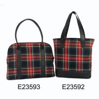 Colorful Plaid Pattern Ladies 2 Pcs Tote Bag Hand Bag Set, 7996A