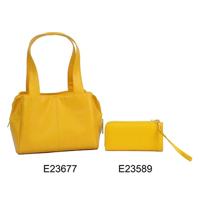 Yellow No Pattern Ladies' 2 Pcs Hand Bag Wristlet Bag Set