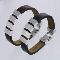 Stainless Steel Bracelets with Brown Leather Strap / Black Leather Strap