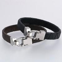 Stainless Steel Bracelets with Brown Bolo Leather Strap or Black Bolo Leather Strap
