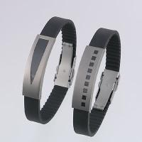 Titanium Bracelets with Black Carbon Fiber and Black Rubber Strap