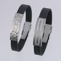 Stainless Steel Bracelets with Black Rubber Strap / Titanium Bracelets with?Silver?Carbon Fiber and Black Rubber Strap