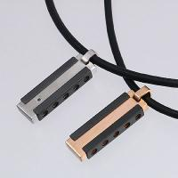 Stainless Steel Pendants in IP Black with Black Diamond / IP Rose Gold with Leather Necklaces
