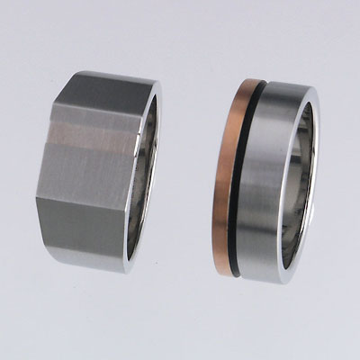Stainless Steel Rings with Silver Inlay / IP Rose Gold