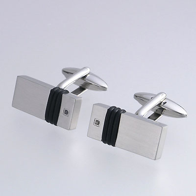 Stainless Steel Cufflinks with Black Diamonds