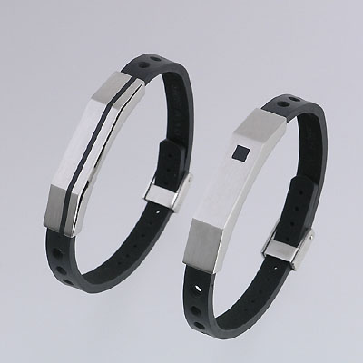 Stainless Steel Bracelets with Leather Strap