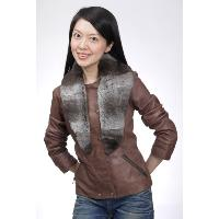 Leather Jacket with Detachable Fur Scarf