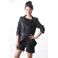 V Collar Leather Jacket